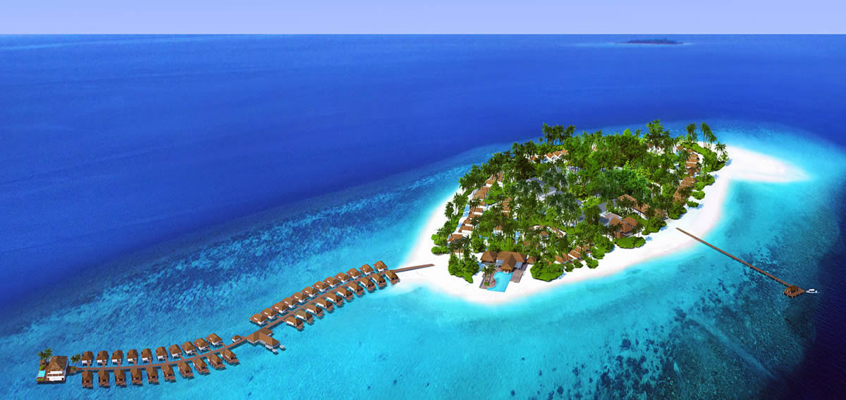 Baglioni Resort Maldives aerial view