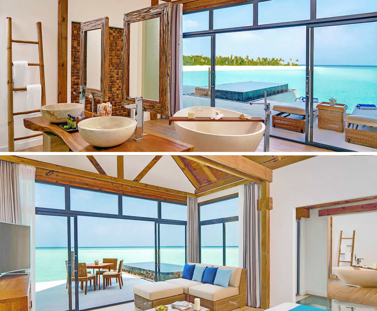 overwater pool villa with view